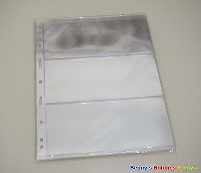 10 Sheet Banknotes Paper Money Stock Pages (3 Strips) - Transparent Single Sided