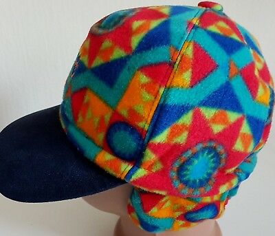 CONTE OF FLORENCE HAT FLEECE CAP SKI BASEBALL VINTAGE EAR FLAP FANCY MULTI  CRAZY fc4771da34fa