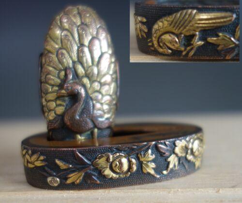 fuchi kashira Samurai peafowl peony gold inlay sword fitting katana tsuba Edo