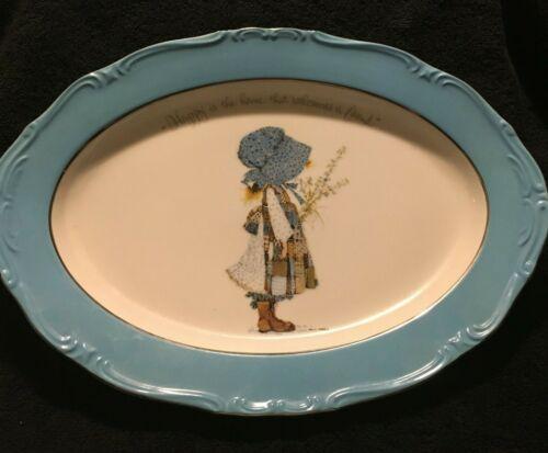 Vintage RARE Holly Hobbie BLUE GIRL Porcelain Large Platter Platinum Trim 1973