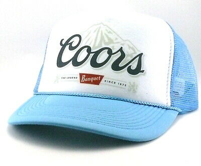 Vintage Coors Banquet Beer Trucker Hat Mesh Snapback party hat light blue  new bf8f0da6a35d