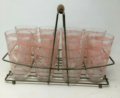 Set of 8 Vintage Hazel Atlas Pink Monticello Pattern Tumblers Glass w/Carrier