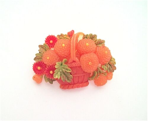 Vintage 1950s Celluloid Basket of Flowers Pin or Brooch
