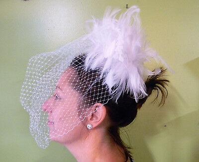 Wedding Ceremony Party Church Bridal Nostalgic Birdcage Veil White Feathers