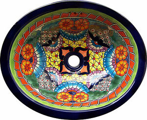 M 187 Mexican Talavera Ceramic Sink Bathroom Wash Basin 17 X14 Ebay