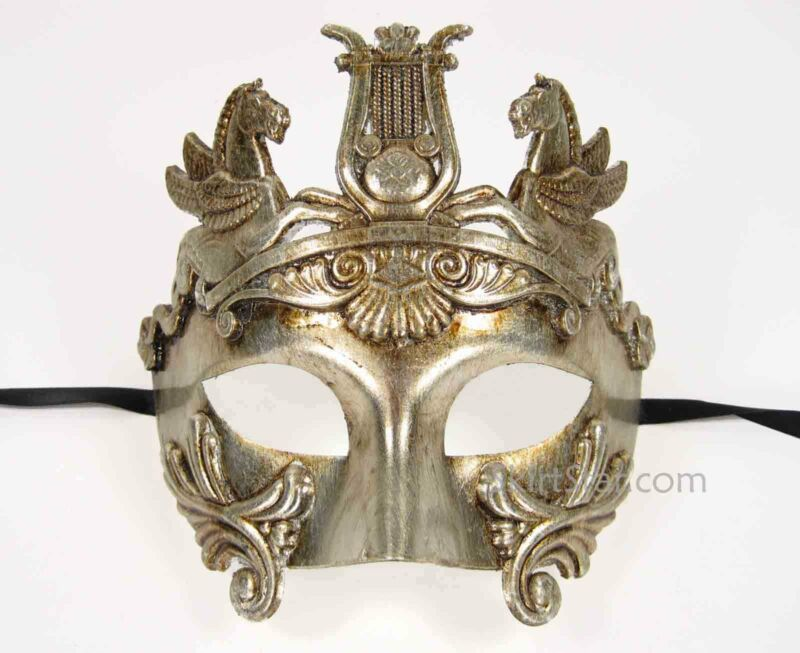 ROMAN WARRIOR GREEK VENETIAN half face MASK masquerade mens Silver costume Fancy