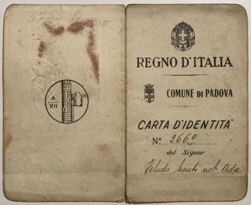 FASCISMO PADOVA CARTA D'IDENTITÀ REGNO D'ITALIA 18.06.1934