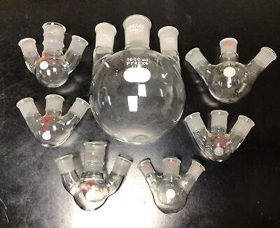 Lot Of 7 3-neck Round Bottom Angled Boiling Flasks 25ml 50ml 100ml 1000ml
