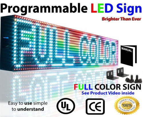 "Led Full Color Sign P10, 6"" X 50"" Programmable Scrolling Text Outdoor Message"