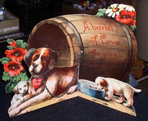 Antique Valentine Card Saint Bernard Dog w/Pups~Barrel Of Love For You! Germany