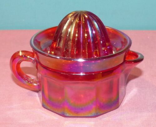 Vintage Barnes Glass 2 Piece Reamer Pitcher / Juicer Iridescent Red