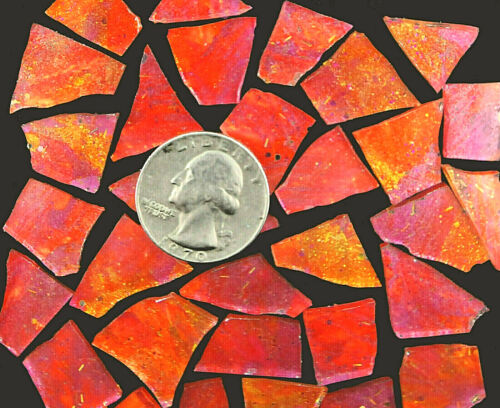 100 PINK and ORANGE and Glitter Mosaic Art Glass by Makena Tile