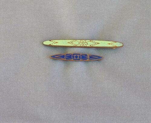 Old Vintage Antique 2 Enamel Bar Pin Lot Green & Blue
