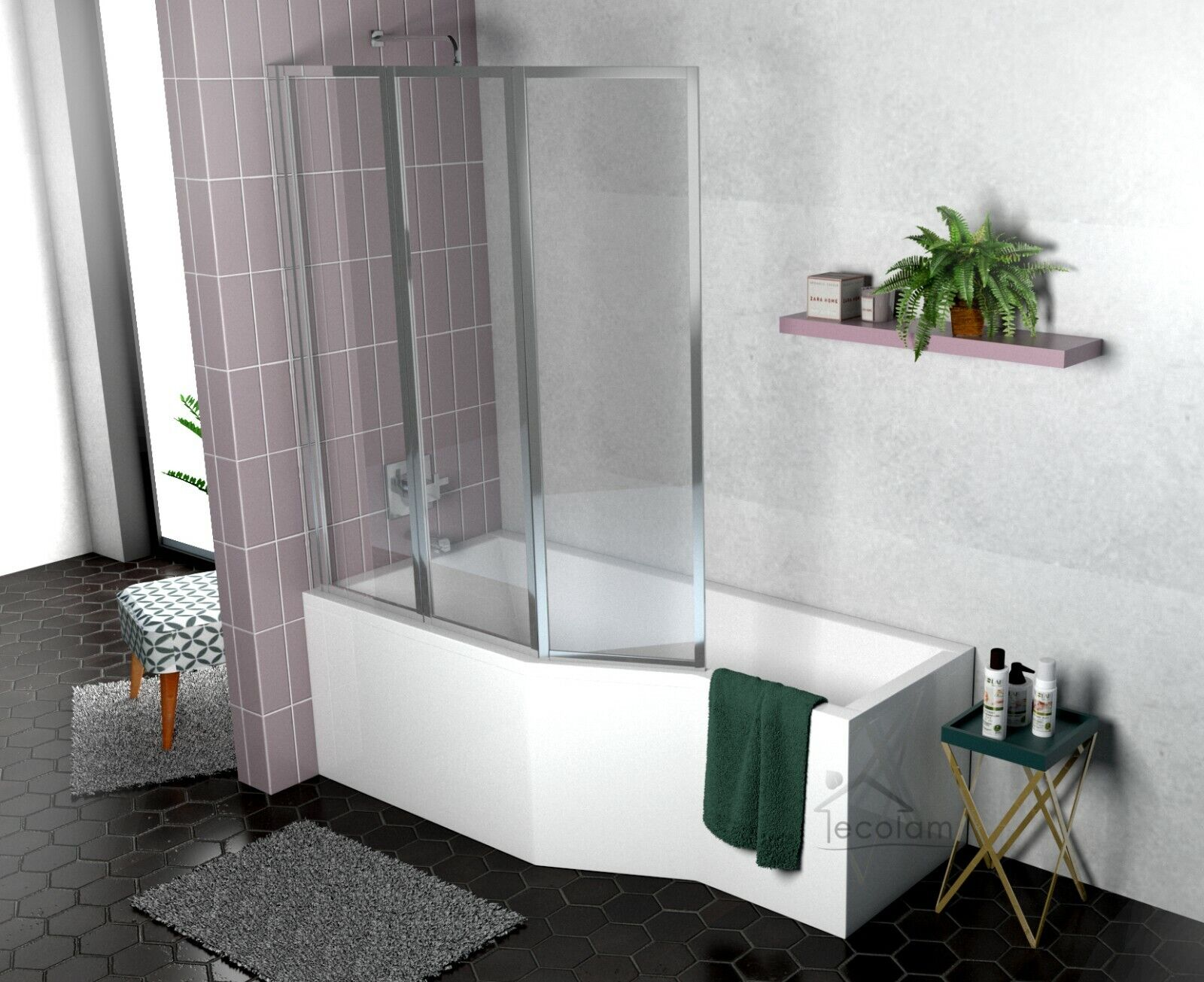 Duschbadewanne Badewanne Glasabtrennung Duschwand Faltwand 150x75 170x75 links