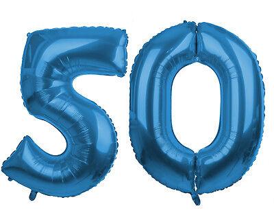 50 blau 86cm Luftballons Folienballon Geburtstag xxl Zahl  (Nummer 50 Ballons)