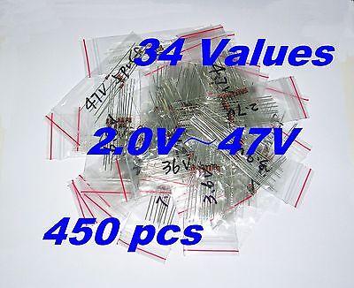 450 Pcs 34 Values 2v47v 0.5w 12w St Zener Diode Assortment Kit