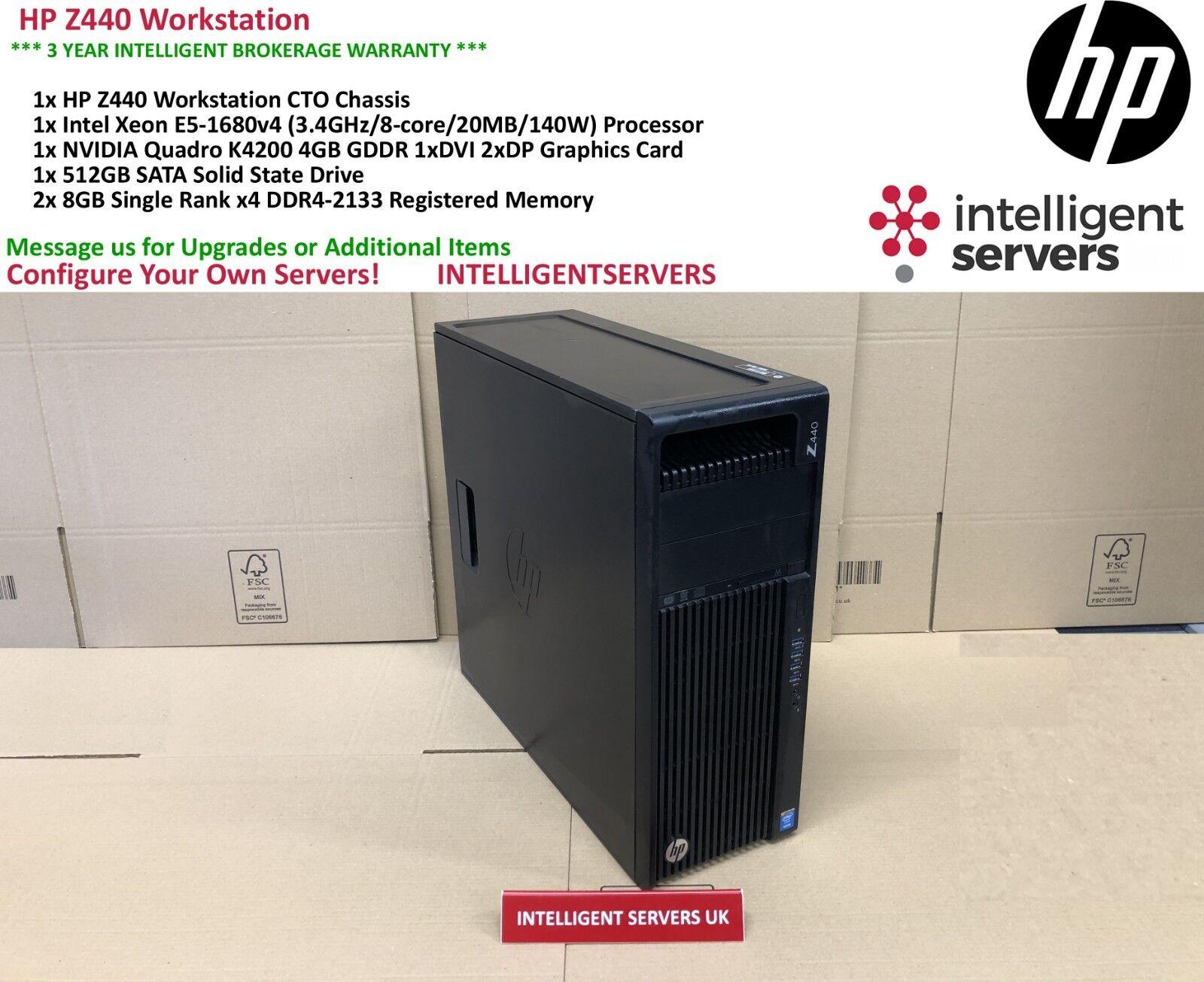 Details about HP Z440 Workstation, Intel Xeon E5-1680 V4, 16GB DDR4, 512GB  SSD, Quadro K4200