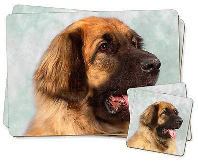 Blonde Leonberger Dog Twin 2x Placemats+2x Coasters Set in Gift Box, AD-LE1PC