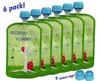 Reusable Refillable Baby Food Squeeze Snacks Drink Pouch 6 Pack  BPA Free Travel