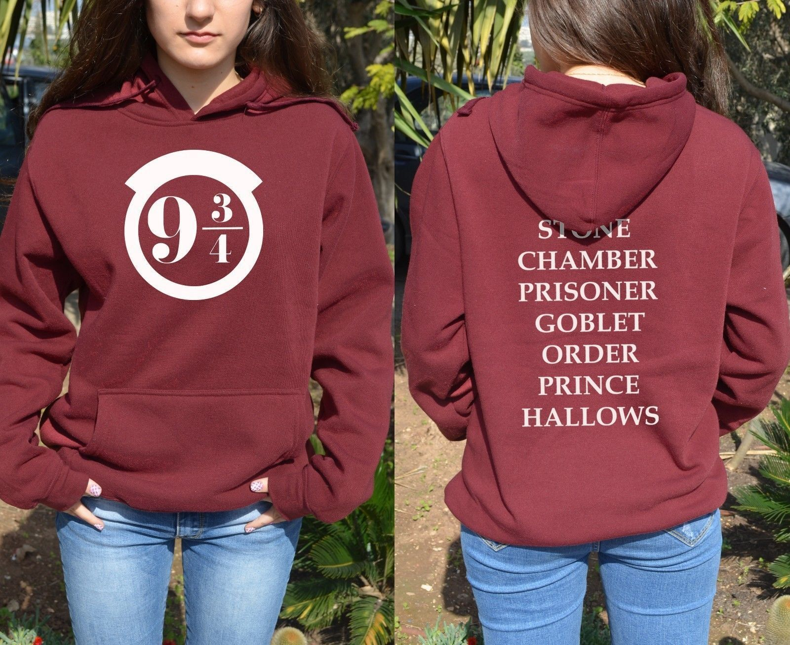 Harry Potter 9 3//4 Red Hoodie Deathly Hallows Lightning Sweatshirt women jacket