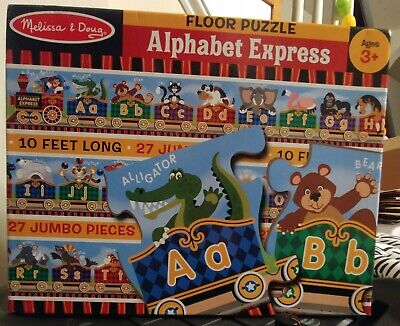 Melissa & Doug Alphabet Express Floor Puzzle 27 Pieces 10' Long Train Complete