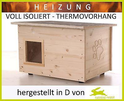 Katzenhaus mit Heizung - Boden/Wände wärmegedämmt – Thermovorhang - Katzenhütte