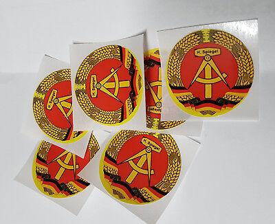 6 Aufkleber DDR Emblem rund ca. 34mm