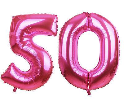50 pink 86-100cm Luftballons Folienballon Geburtstag XL Zahl (Nummer 50 Ballons)