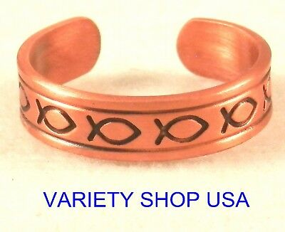 Antiqued Copper Ring Adjustable Band Jesus Fish - Jesus Fish Ring