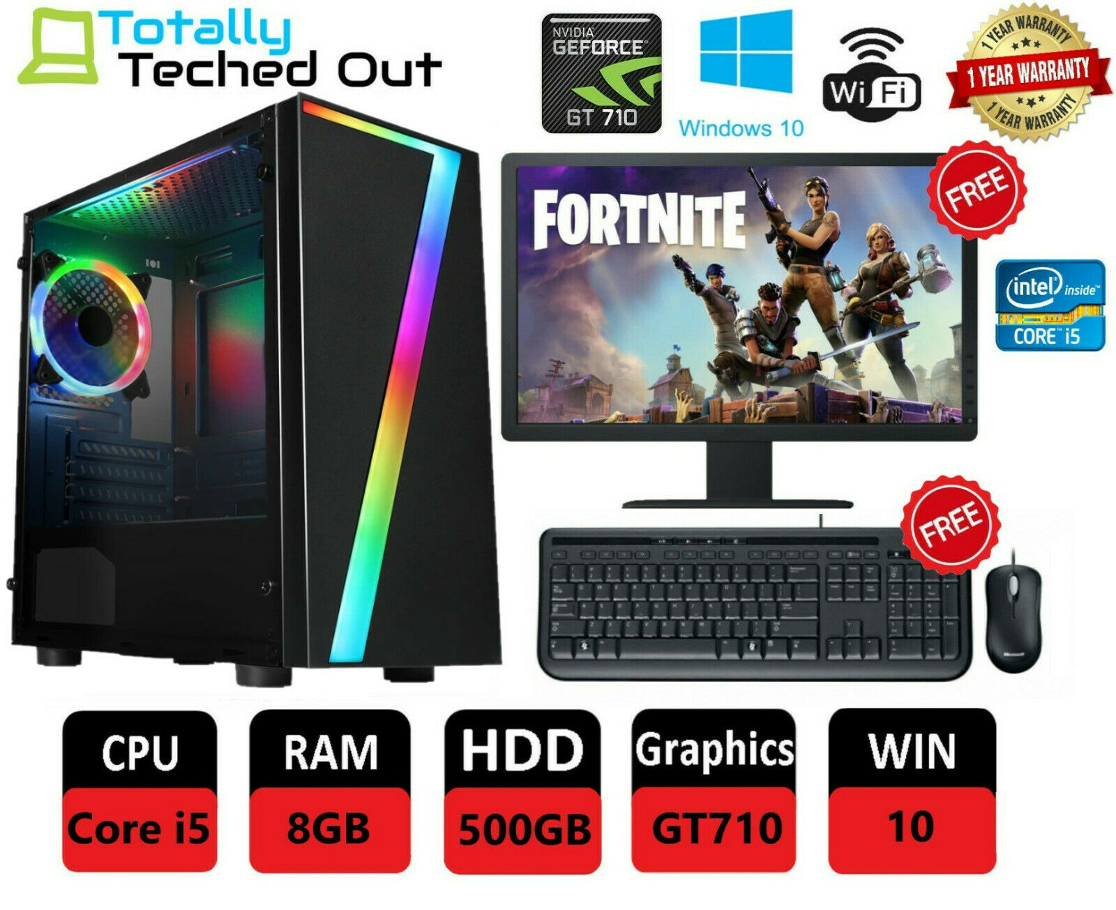 Computer Games - FAST Quad Core i5 Gaming PC Computer Tower 8GB 500GB GT710 2GB CHEAP Fortnite