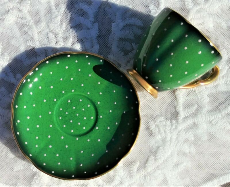 Vintage CARLTON WARE England DEMITASSE TEACUP & SAUCER Green Polka Dot Gold Trim