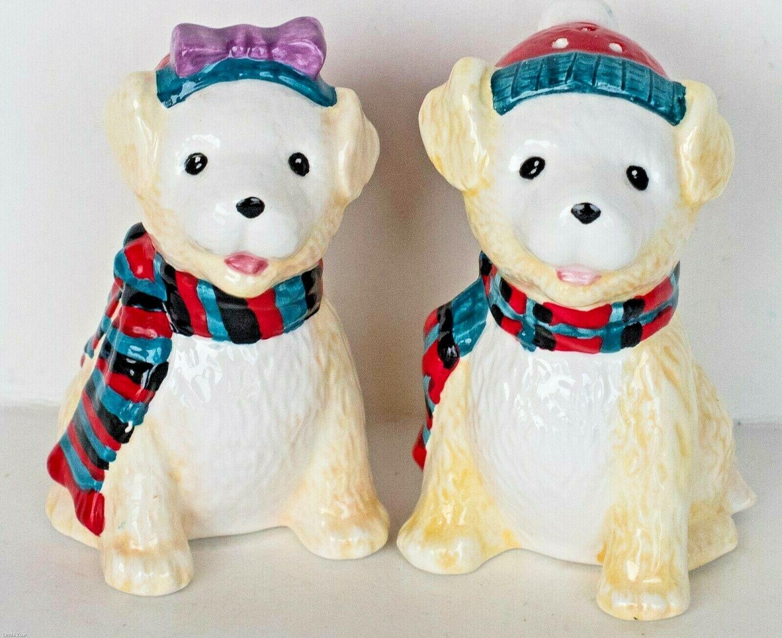ADORABLE PORCELAIN WINTER DOG CAT SALT PEPPER SHAKERS BRAND NEW  - $4.99