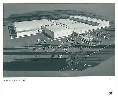 1973 Sports Mall Sketch Salt Lake City Utah Original News Service (Salt Lake City Mall)