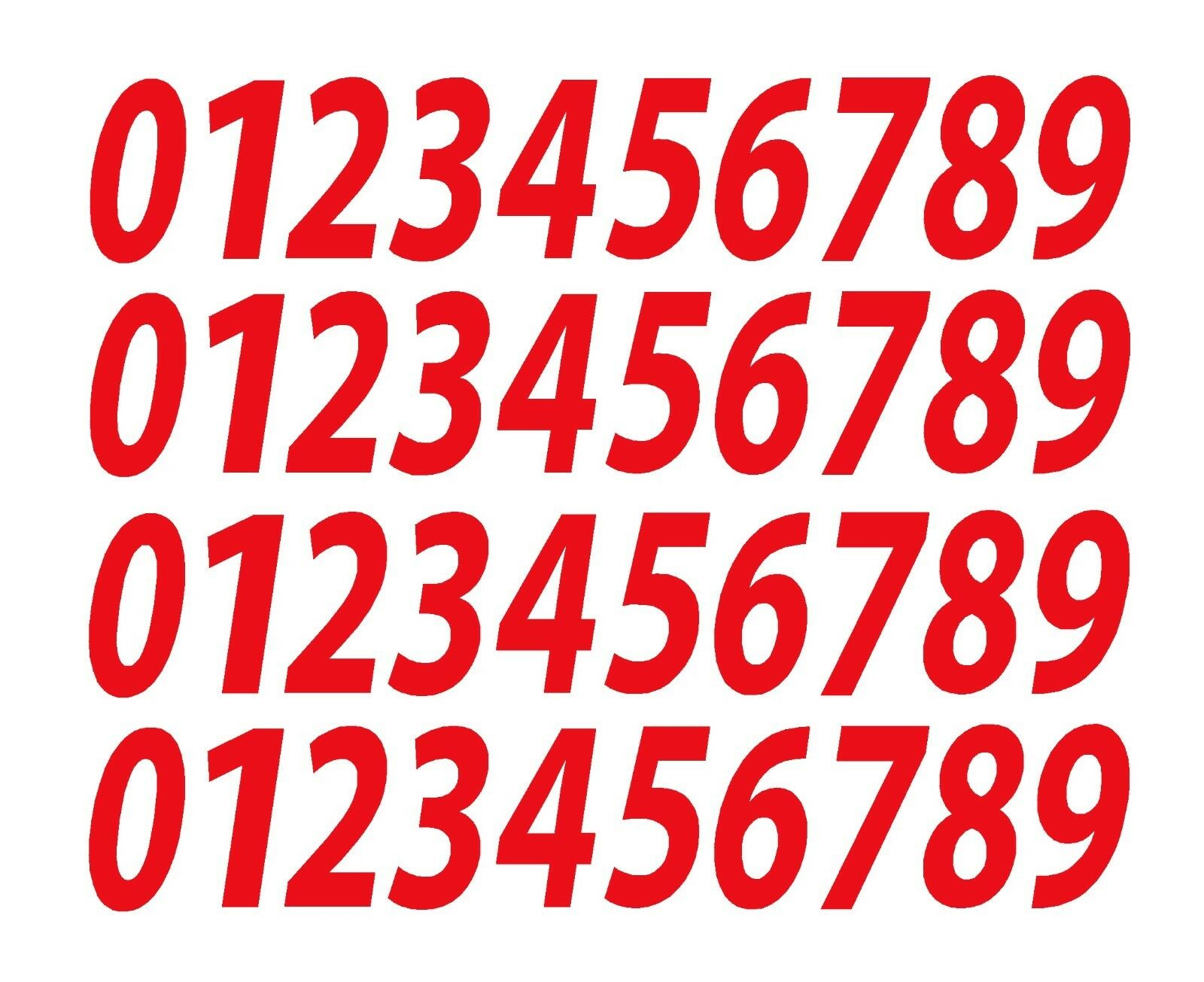 "Home Decoration - 0-9 Numbers Red Sticker Vinyl Decals CHOOSE SIZE!! 1/2"" To 12"" Set Of 40 V546)"