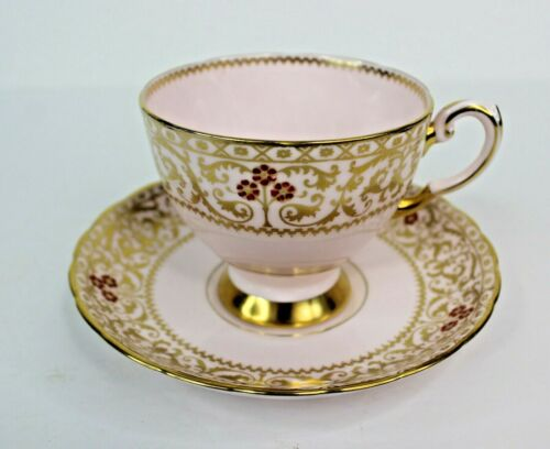 Vintage Tuscan Pink With Gold Filigree Tea Cup and Saucer #9060