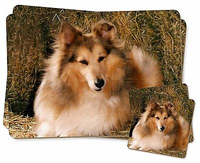 Sheltie on Hay Bale Twin 2x Placemats+2x Coasters Set in Gift Box, AD-SE55PC