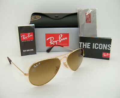 Authentic Ray-Ban Aviator Gold Frame Brown Gradient Polarized RB3025 001/M2 (Ray Ban Aviator Gradient Brown)