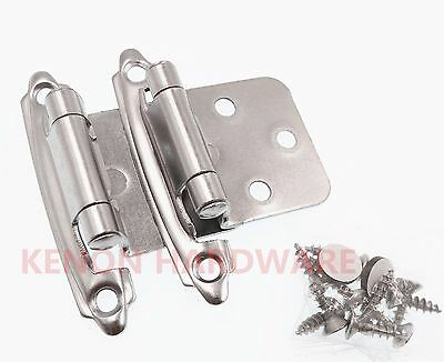 Lot of 25 Pairs /50pcs Self Closing Variable OVERLAY Cabinet Hinges Satin Nickel