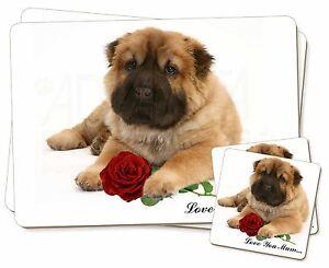 Shar-Pei-Rosa-039-Love-You-Mum-039-Individual-2x-Manteles-2x-Posavasos-Set-en