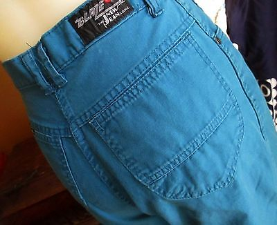 sz 11 25x29 HI WAIST Vtg 70s Womens TIEL BLUE CLOTHY DISCO POCKET FASHION JEANS