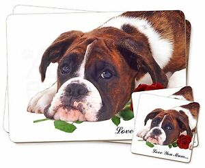 Boxer-Perro-Rosa-039-Love-You-Mum-039-Individual-2x-Manteles-2x-Posavasos-Set-en