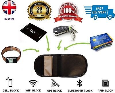 Car Keyless Entry Fob Guard Signal Blocker Genuine Leather Faraday Bag pouch UK