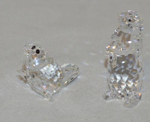 "Two Swarovski Crystal Figurines - Baby Beaver ""KIt"" & Standing Ground Hog - NICE"