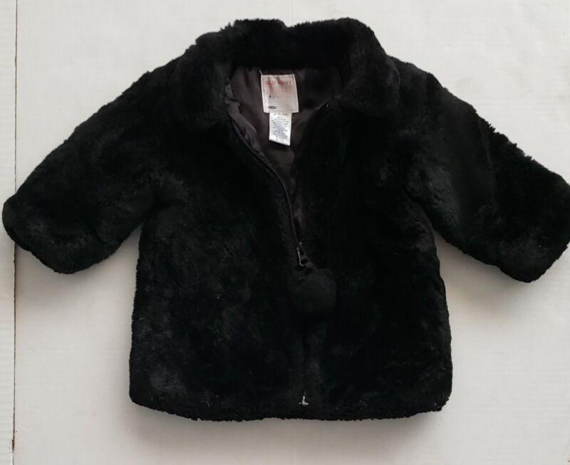 Old Navy Baby Toddler Girls 12-18m Coat Jacket Black Faux Fur Zip Pompom EUC