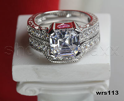5.36 Ct Asscher Pink Heart Lab Diamond Engagement Ring Wedding Bridal Ring set