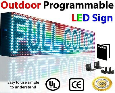 Open Neon Led Signs Full Color 7x 25 Outdoor Programmable Still Scroll Text