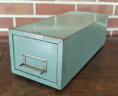 Vintage Steelmaster Metal Card Catalog Box Single File Index Card Holder Cabinet