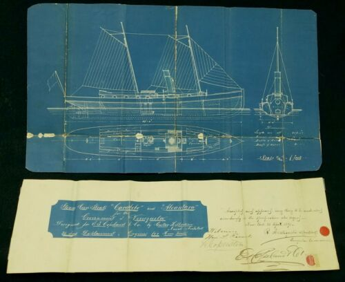 Antique 1891 Maritime Blueprint Plans Venezuelan Gun Boats Signed New York City