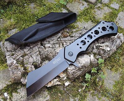 S-Tec MORPHEUS Cleaver XXL Taschenmesser Messer 440 Stahl BLACK + Tasche 30 cm Cleaver Messer