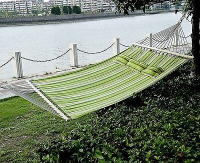 2 Person Hammock Double Size Quilted Fabric Spreader Bar Patio Hang Swing Pillow